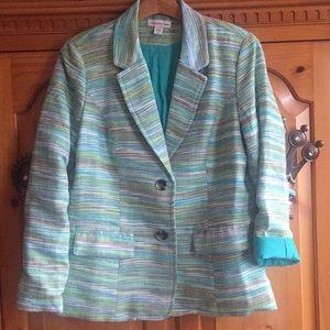 Coldwater Creek blue & green blazer jacket